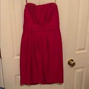 Gorgeous red strapless 100 % silk dress